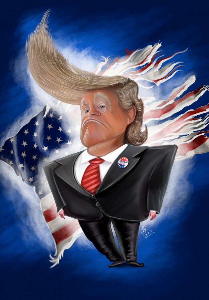 Digital Art Caricature of Donald Trump drawn by Evan Bond (DrawTalent) in Photoshop